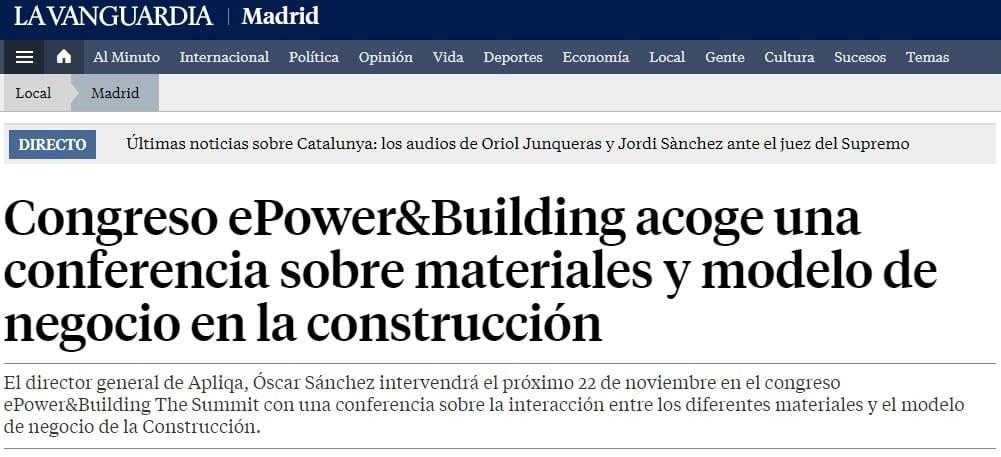 Apliqa estará presente en 'ePower&Building The Summit' el próximo 22 de Noviembre en Madrid